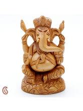 Aapno Rajasthan Pure White Wood Ekakshara Ganapati Statue (WUD1204)
