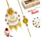 Aapno Rajasthan Lovely Yellow & Pearl Rich Bhaiya Bhabhi Rakhi Set, rakhi with 200 gms kaju katli