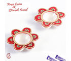 Aapno Rajasthan Floral Marble Hand Painted Red And Gold Diyas Set