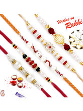 Aapno Rajasthan Set Of 5 Pearl Rakhis With America...