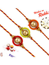 Aapno Rajasthan Set Of 3 Mauli Rakhi With Golden B...