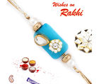 Aapno Rajasthan White Floral Bead Rakhi With Blue Base, only rakhi