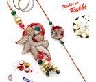 Aapno Rajasthan Red Silk Thread With Rich Zardozi Work Bhaiya Bhabhi Rakhi Set, only rakhi