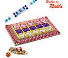 Aapno Rajasthan Pink & Gold Chocolates Box With Rakhi Hampers