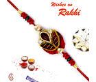 Aapno Rajasthan Beautiful Red Base Rich Zardosi Work Rakhi, only rakhi with 200 gms kaju katli