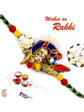 Aapno Rajasthan Charming Peacock Style Zardosi Rakhi, only rakhi