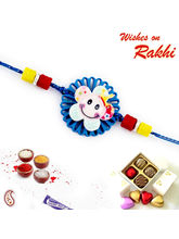 Aapno Rajasthan Aapno Rajasthan Blue Cut Work Smiley Motif Kids Rakhi, only rakhi