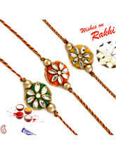 Aapno Rajasthan Set Of 3 Traditional Rakhi With Ku...
