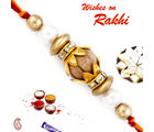 Aapno Rajasthan Pearl & Gold Beads Sandalwood Rakhi, set of 2 rakhis