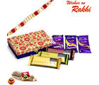 Aapno Rajasthan Blue & Gold Designer Gift Box With Chocolate Rakhi Hampers