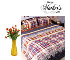 Aapno Rajasthan Blue Shade Bedsheet And Orange Artirficial Flowers Set