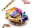 Aapno Rajasthan Brown & Gold Basket With Rakhi & Chocolate Rakhi Hampers