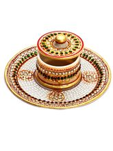 Aapno Rajasthan Decorative Round Plate With Bowl And Lid Made From Pure White Marble (MAR15339)