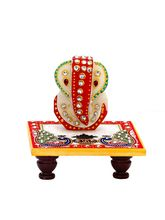 Aapno Rajasthan Marble Ganesh Decorated With Stone Beads Sitting On Marble Chowki (MAR15306)