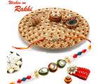 Aapno Rajasthan Premium Pooja Thali Tray With Rakhi Hampers, only hamper