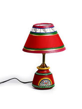 Aapno Rajasthan Bright Red Tribal Art Form Terracotta Base Table Lamp (TC1432)