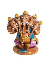 Aapno Rajasthan Aapno Rajasthan Multicolor Terracotta Panchmukhi Sitting Ganesh Showpiece (TC15529)