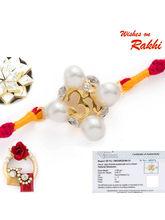 Aapno Rajasthan Sunshine Om Real Diamond Stud Gold Plated Rakhi, only rakhi