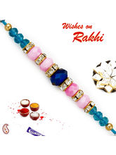 Aapno Rajasthan Pink & Blue Crystal Beads Studded ...