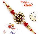 Aapno Rajasthan Aapno Rajasthan Red & Golden Beads Studded Swastik Motif Rakhi, only rakhi