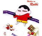 Aapno Rajasthan Cute Shinchan Purple Band Kids Rakhi, only rakhi