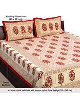 Aapno Rajasthan Maroon Block Print Floral Print Double Bedsheet (BS17907)