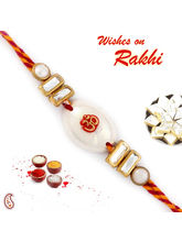 Aapno Rajasthan White Oval Base Mauli Rakhi with OM Motif, only rakhi