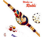 Aapno Rajasthan Golden Beads & Crystal Stone Studded Rakhi, only rakhi