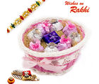 Aapno Rajasthan Pink Ribbon Basket With Rakhi & Chocolate Rakhi Hampers