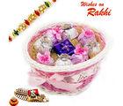 Aapno Rajasthan Pink Ribbon Basket With Rakhi & Chocolate Hamper