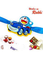 Aapno Rajasthan Cute Doremon in Car Blue Band Kids Rakhi, only rakhi