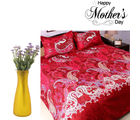 Aapno Rajasthan Deep Red Polyester Bedsheet And Purple Artificial Flowers Set