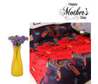 Aapno Rajasthan Dual Shade Polyester Bedsheet And Purple Artificial Flowers Set