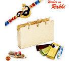 Aapno Rajasthan Beige & Gold Gift Box With Rakhi & Chocolate Rakhi Hampers