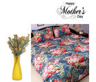Aapno Rajasthan Tangy Orange Artificial Flowers And Cotton Bedsheet For Mother's Day