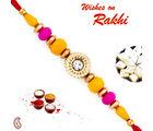 Aapno Rajasthan Pink & Yellow Beads Beautiful Rakhi, only rakhi