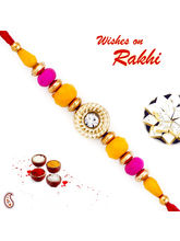 Aapno Rajasthan Pink & Yellow Beads Beautiful Rakhi, only rakhi