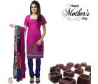 Aapno Rajasthan Combo Of Pink Suite And Orange Dupatta For Mother's Day