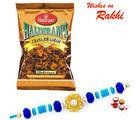 Aapno Rajasthan Haldirams Chana Jor Garam Pack With Beads Rakhi, with 3 rakhis