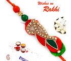 Aapno Rajasthan Red & Green Elegant & Stylish Zardosi Rakhi, only rakhi
