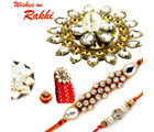 Aapno Rajasthan Premium Floral Shape Rakhi Hamperss Gift Box With 2 Ad Studded Floral Rakhi, only hamper