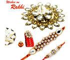 Aapno Rajasthan Premium Floral Shape Rakhi Gift Box With 2 Ad Studded Floral Rakhi, only rakhi