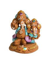 Aapno Rajasthan Aapno Rajasthan Multicolor Terracotta Ganesh Holding Baby Ganesh Showpiece (TC15521)