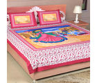 Aapno Rajasthan Classical Dance Form Print Pink Double Bedsheet (BS17904)