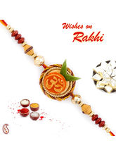 Aapno Rajasthan Beautiful Om Motif Mauli Thread Rakhi, only rakhi