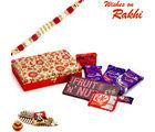 Aapno Rajasthan Red & Gold Gift Box With Chocolate Rakhi Hampers