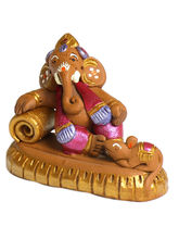 Aapno Rajasthan Aapno Rajasthan Brown And Pink Terracotta Sofa Ganesh Showpiece (TC15516)