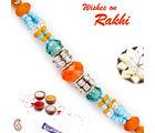 Aapno Rajasthan Aapno Rajasthan Orange & Blue Crystal Beads Embellished Rakhi, only rakhi with 200 gms kaju katli