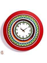 Aapno Rajasthan Red Round Wall Time Piece With Contemporary Design (WUD15901)