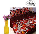 Aapno Rajasthan Set Of Printed Bedsheet And Decorative Artificial Flowers